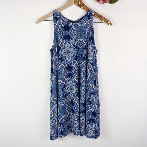 [DEREK HEART] Blue Bohemian Print A-Line Dress